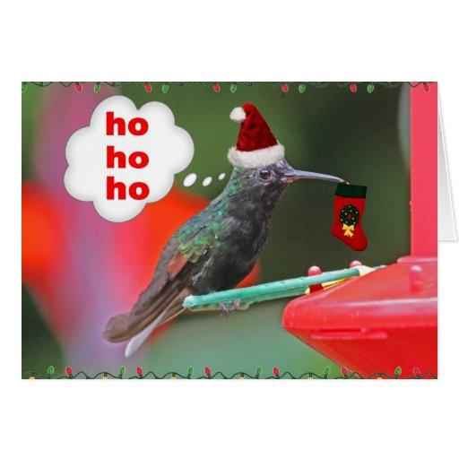 Christmas Hummingbird with Christmas Stocking Greeting Card