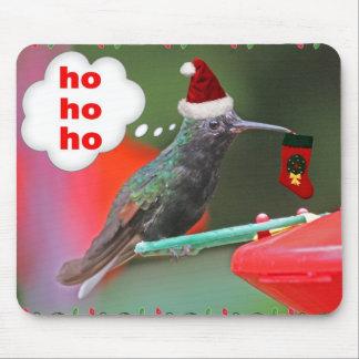 Christmas Hummingbird with Christmas Stocking Mouse Pad