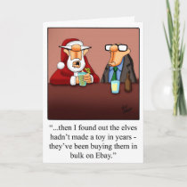 "Christmas Humor ""Elves & Ebay"" Greeting Card"