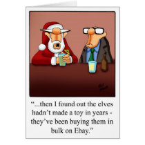 "Christmas Humor ""Elves & Ebay"" Greeting Card"