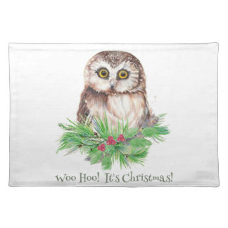 Christmas Humor Quote Cute Owl Bird Placemat