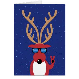 Christmas Humor, Reindeer Giving Peace Sign Card