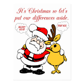 Christmas Humor: Stop Fighting & Reconcile Funny Postcard
