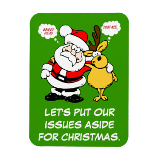 Christmas Humor: Stop Fighting & Reconcile Funny Rectangular Photo Magnet