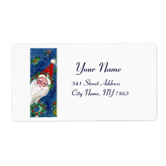 CHRISTMAS I LETTER / SANTA CLAUS WITH RED RIBBON SHIPPING LABEL