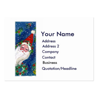 CHRISTMAS I LETTER / SANTA CLAUS WITH RED RIBBON LARGE BUSINESS CARDS (Pack OF 100)