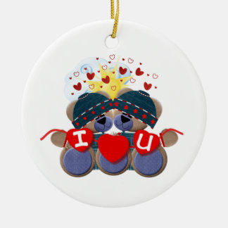 Christmas I Love U Ceramic Ornament