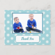 Christmas ice blue snowflakes thank you photo announcement postcard