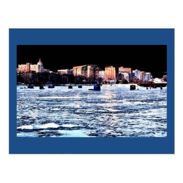 Christmas Themed Christmas Ice Fishing Madison Wisconsin Postcard