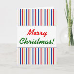 [ Thumbnail: Christmas; Ice Hockey Arena Rink-Inspired Stripes Card ]