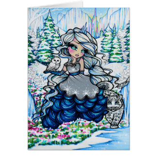 Christmas Ice Princess Snowy Owl Fantasy Art Card