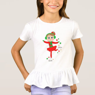 Christmas Ice Skater with Stars T-Shirt