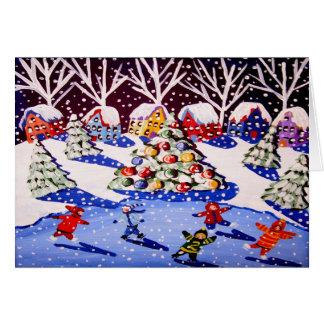 Christmas Ice Skaters Whimsical Card