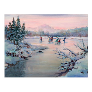 CHRISTMAS ICE SKATING by SHARON SHARPE Postcard