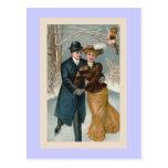 """""""Christmas Ice-Skating"""" Vintage Postcard"""
