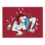Christmas Ice Zombie Skeleton Postcard