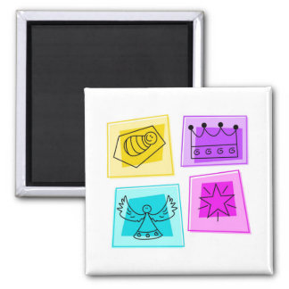 christmas icons 2 inch square magnet