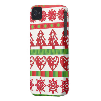 Christmas icons, stars, hearts, pine tree Case-Mate iPhone 4 case