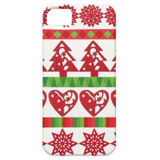 Christmas icons, stars, hearts, pine tree iPhone SE/5/5s case