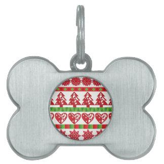 Christmas icons, stars, hearts, pine tree pet name tag