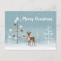 Christmas Illustration- Deer And Birds Holiday Postcard