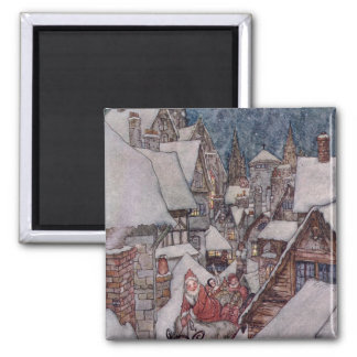 Christmas illustrations 2 inch square magnet