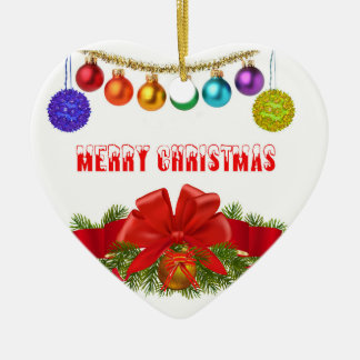 Christmas image for Heart-Ornament Ceramic Ornament