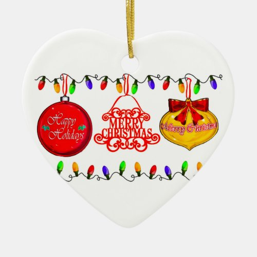 Christmas Heart Double-Sided Ceramic Christmas Ornament