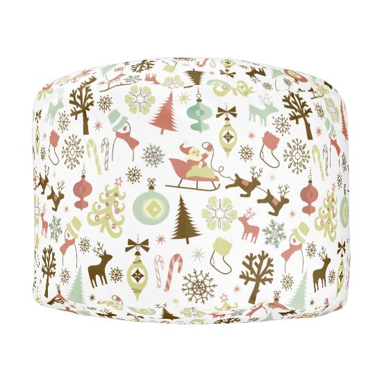 Christmas Images Pattern Pouf - Seat