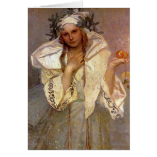Christmas in America by Alphonse Mucha Greeting Cards