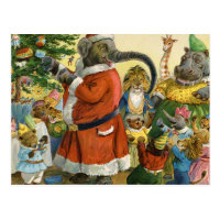 Christmas In Animal Land Postcard