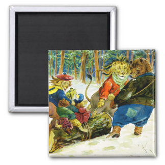 Christmas in Animal Land - The Yule Log 2 Inch Square Magnet