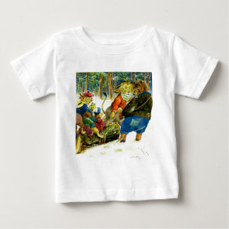 Christmas in Animal Land - The Yule Log Baby T-Shirt