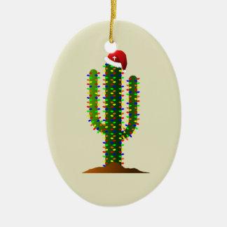Christmas in Arizona Saguaro Cactus Lights Ceramic Ornament