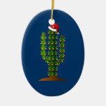 Christmas in Arizona Saguaro Cactus Lights Double-Sided Oval Ceramic Christmas Ornament