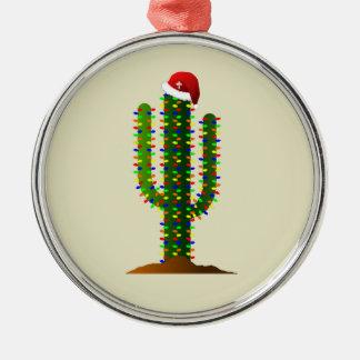 Christmas in Arizona Saguaro Cactus Lights Metal Ornament