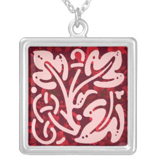 Christmas in Bali Batik Ornament Square Pendant Necklace