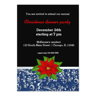 Christmas in blue & silver card