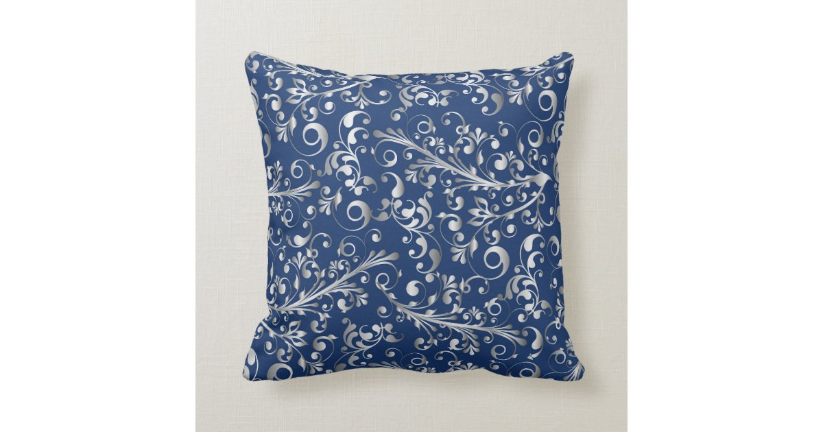Silver Blue Decorative Pillows : Christmas in blue & silver throw pillow Zazzle