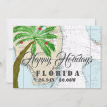 """Christmas in Florida Tropical Holidays Holiday Card<br><div class=""""desc"""">Nautical Boutique Co.'s nautical holiday card features the authentic NOAA nautical chart for the South Florida region,  a watercolor palm tree -- decorated Florida style,  of course! -- and customizable messages on both the front and back side. #Nautical #CoastalChristmas #Holidays #NauticalHolidays</div>"""