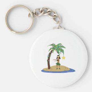 Christmas in Hawaii Basic Round Button Keychain