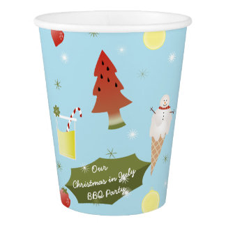 Christmas in July BBQ Party Custom Paper Cup