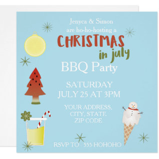 Christmas In July Bbq Party Custom Square Invite at Zazzle