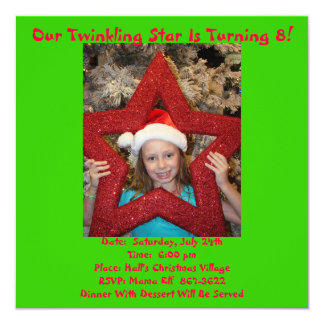 Christmas In July Birthday Theme 5.25x5.25 Square Paper Invitation Card