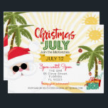 "Christmas in July invitation, fun summer party Invitation<br><div class=""desc"">Make your Christmas in July party go off with a Jolly good blast of fun! Whether this is for a birthday or just an excuse to hold a summer party with all the tacky Christmas glitz and glam this invite is sure to impress your guests with our high-quality elements leaving...</div>"