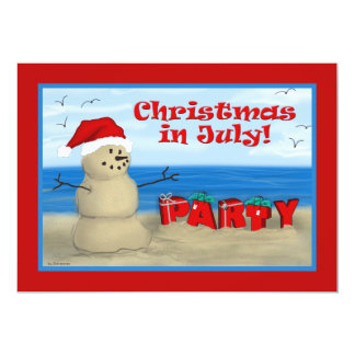 "Christmas in July Party invitations 5"" X 7"" Invitation Card"