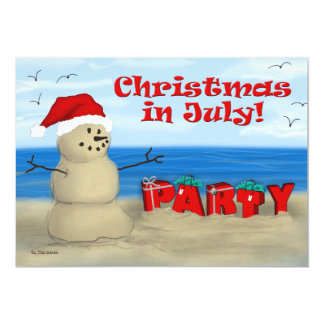 """Christmas in July Party invitations 5"""" X 7"""" Invitation Card"""