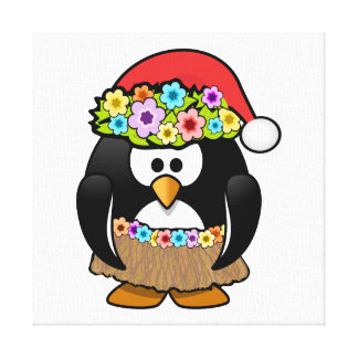 Christmas in July Penguin Stretched Canvas Print