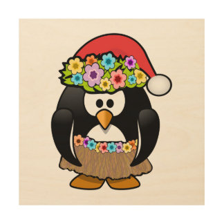 Christmas in July Penguin Wood Canvas