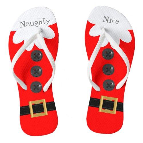 Christmas in July Santa Suit Naughty or Nice Red Flip Flops